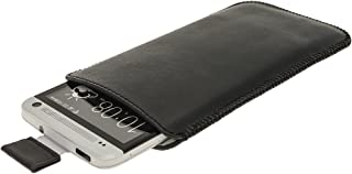 iGadgitz Black Leather Pouch Case Cover for HTC One M7 Android Smartphone Cell Phone