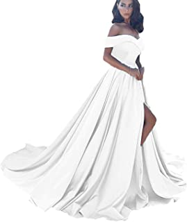 ANGELWARDROBE Women's Off The Shoulder Slit Formal Evening Dresses Long Beach Party Prom Ball Gown