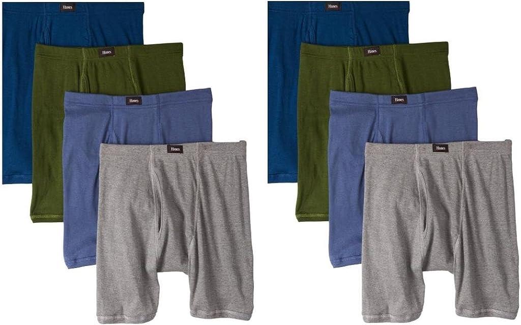 Hanes Men's 8Pack Assorted Comfort Soft Waistband Boxer Briefs Cotton Underwear
