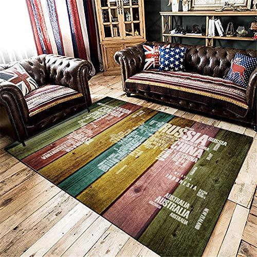 Llprueba De Polvo super suave Alfombras Diseño de grano de madera de imitación de tira brillante y colorido alfombra comedor verde rosa amarillo azul decorativa El Dormitorio La Alfombrae 60X90cm