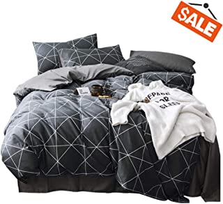 VCLIFE Queen Black-Gray Duvet Cover Sets Modern Plaid Geometric Printed Bedding Sets - 100% Cotton Boy Man Comforter Cover Sets, Luxurious Soft, Wrinkle, Fade, Stain Resistant, 90