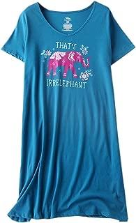 Womens Cotton Sleepwear Short Sleeves Print Sleepshirt Sleep Tee
