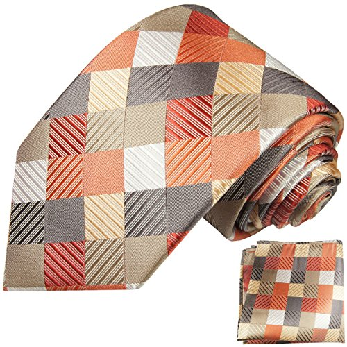 Buntes Krawatten Set 2tlg 100% Seidenkrawatte mit Einstecktuch by Paul Malone