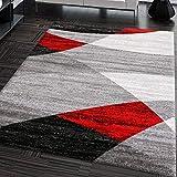 VIMODA Alfombra Moderna de diseño con Dibujo geométrico en Gris, Blanco, Negro y Rojo - Material Certificado ÖKO Tex, Maße:60 x 110 cm