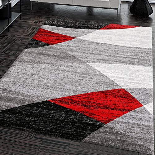 VIMODA Teppich Geometrisches Muster Meliert in Grau Weiß Schwarz und Rot, Maße:160x220 cm