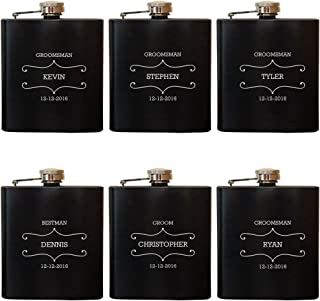 Engraved Personalized Flask, Custom Leather Hip Flask, Wedding Bachelor Party, Groomsmen, Bridesmaid, Fathers Day