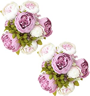 Fule 2 Pack Large Artificial Peony Silk Flower Bouquets Arrangement Wedding Centerpieces (Light Purple)