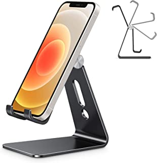 OMOTON Aluminum Desktop Cellphone Stand with Anti-Slip Base and Convenient Charging Port, Fits All Smart Phones, Black