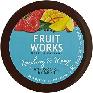 Fruit Works Raspberry & Mango Cruelty Free & Vegan Body Butter With Natural Extracts 1x 225g
