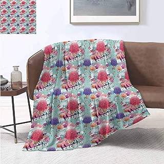 Bedding Sets Ice Cream Modern I Love Ice Cream Quote Fantasy Dream Land for Girls Boys Graphic Pink Seafoam Purple Warm Blanket 40