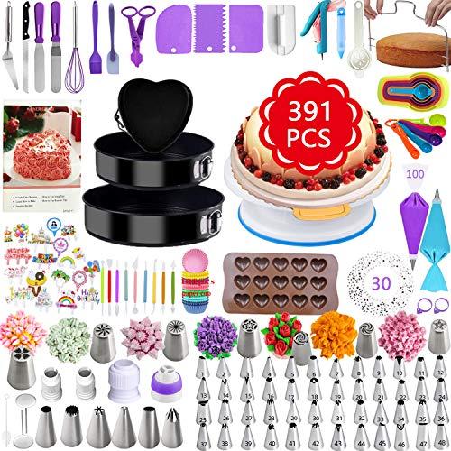 TONVVD Cake Decorating Supplies, 391 Pcs Baking Supplies Cake Decorating Kit for Beginners, 3 Baking Springform Cake Pans Set,54 Piping Icing Tips, 7 Russian Nozzles, Daking Pans,Cake Decorating Tools