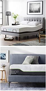 LUCID L300 Adjustable Bed Base with Lucid 12 Inch Latex Hybrid Mattress - Full