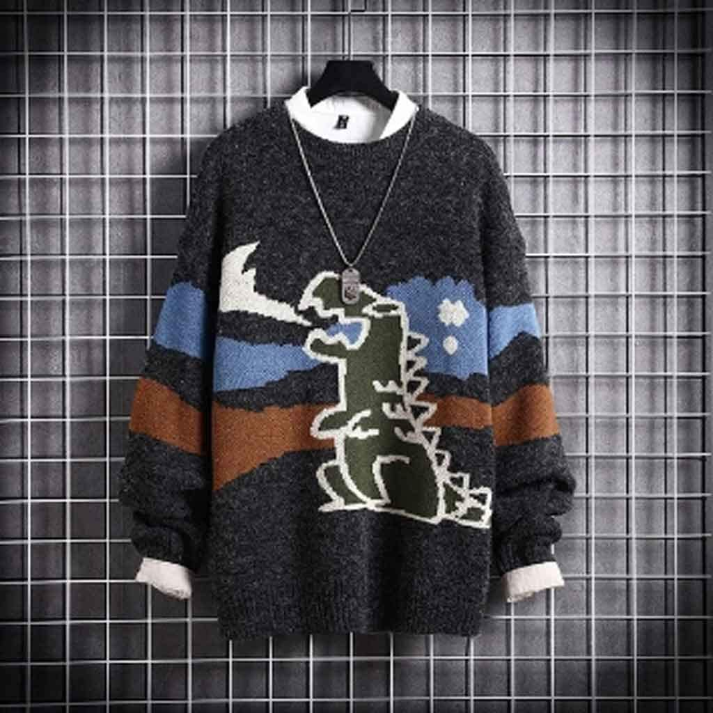 ZYING Mens Autumn Casual Sweaters Fit Knitted Dinosaur Pattern Slim Sweaters Cotton Long Sleeve Round Collar Male Warm Pullovers (Color : B, Size : XL Code)