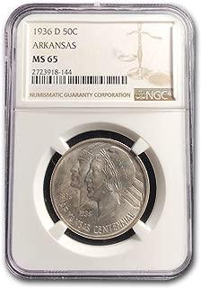 1936 D Arkansas Centennial Half Dollar MS-65 NGC Half Dollar MS-65 NGC