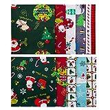 LUTER 10 Stück 45 × 55 cm Weihnachtsmotiv, Weihnachtsbündel aus Reinem Baumwollstoff, für DIY-Dekorationen, Weihnachtszubehör, Patchworks