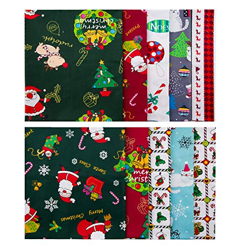 LUTER 18×22 inch/45×55cm 10pcs Christmas Theme Fabric Christmas Fat Quarter Pure Cotton Fabric Bundle for DIY Decorations, Christmas Series Supplies, Patchwork