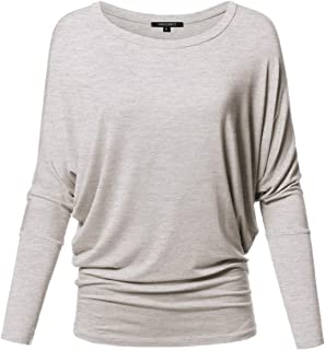 Awesome21 Women's Casual Solid Boat Neck Long Dolman Sleeve Top - Made in USA