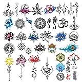 CARGEN 30 Hojas Yoga Tatuaje Temporal Conjunto Lycoris Radiata Shabda OM Mandalas Lotus Elefante Pluma De Pavo Real Pegatina Impermeable
