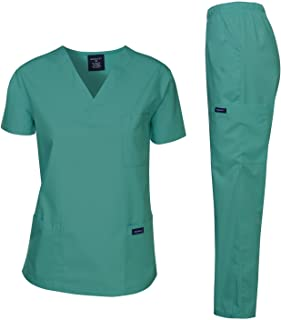 Dagacci Medical Uniform Women's Medical Scrub Set Top and Pant, Teal Green, XXL
