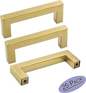 goldenwarm 3 Inch Brass Drawer Pulls Gold Kitchen Cabinet Handles - LSJ12GD76 Euro Bar Cabinet Hardware Brushed Gold Dresser Pulls Cupboard Closet 3-1/2 Inch Overall Length Cabinet Pulls 25 Pack