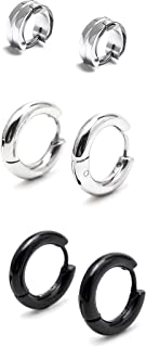 3 Paris Stainless Steel Tiny Hoop Earrings set for Women Mens Silver Black Small Circle Hypoallergenic Earrings 7mm/ 10mm ...