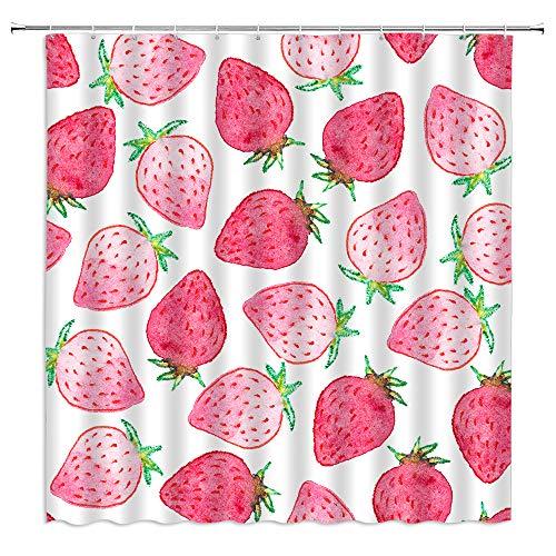 BYLLLFIR Duschvorhang, Erdbeere, süßes Obst, lecker, saftiger, reifer Frühlingssommer-Druck, Stoff, Badezimmer-Set mit Haken, 177 x 177 cm, Rosa