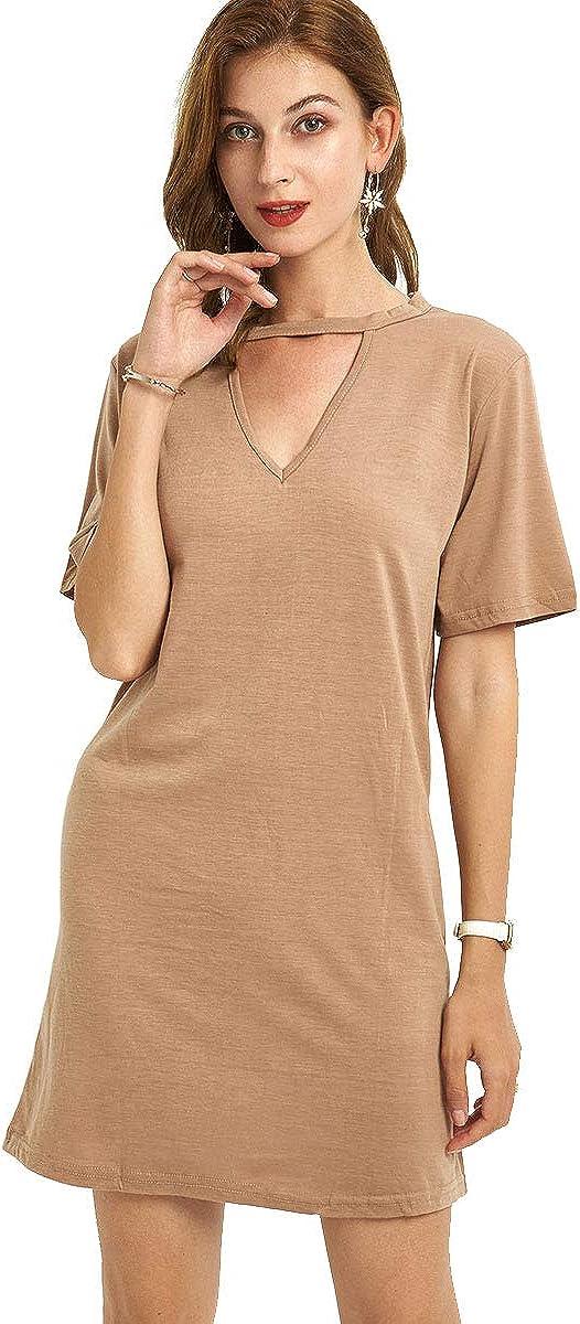 URLAZH Women's Summer Casual T Shirt Dress V Neck Short Sleeve Beach Dresses for Women Mini Dress