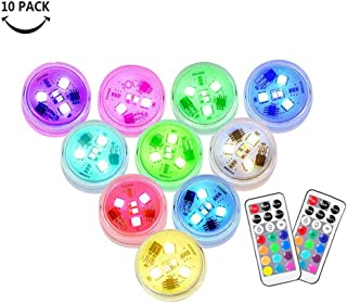 Small Submersible LED Lights Mini Waterproof LED Tea Lights Candles Multi-color with Remote Control Party Events Home Vase...