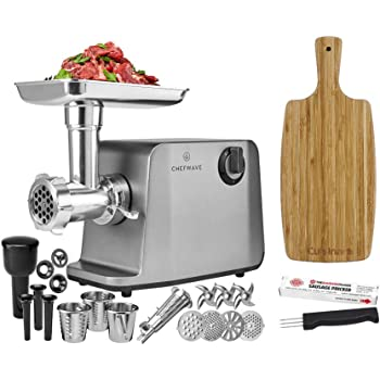 ChefWave Electric Meat Grinder - Stainless Steel Heavy Duty 1800W Max 3-Speed - 4 Grinding Plates, 3 Cutting Blades, Tomato Juicer, Sausage Stuffer Tubes + Cutting Board + Sausage Pricker