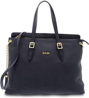 GIUDI ® - Borsa Donna in pelle vitello, vera pelle, tracolla Donna, borsa lavoro, Made in Italy. (Blu)