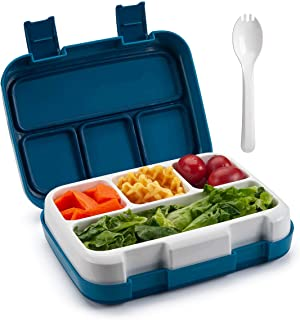 DadyMart Lunch Box for Kids, Leakproof Bento Box for Kids with 4 Compartments, Lunch Containers with Spoon Suitable for Microwave Freezer Dishwasher, Dark Blue