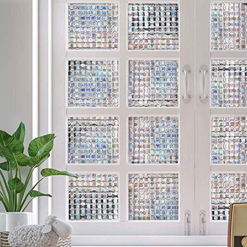 Dutsekk Statische Fensterfolie, 3D, kein Kleben, Mosaik-Glas, transparent, dekorativer Sichtschutz aus Milchglas, Fensterfolie, Aufkleber Anti-UV, für Zuhause, Küche, Büro (45 x 200 cm)