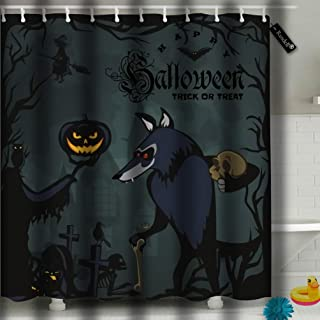 Randell Shower Curtains Set with Hooks Werewolf Holding Skull On Halloween The Cemetery Horror Wolf at Night 72