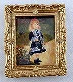 Melody Jane Puppenhaus Miniatur Little Girl in Blau Bild Gemälde Gold Rahmen