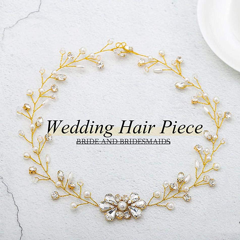 Catery Bride Wedding Headband Crystal Pearl Hair Vine Bead Bridal Hair Accessories for Women and Girls (Gold)