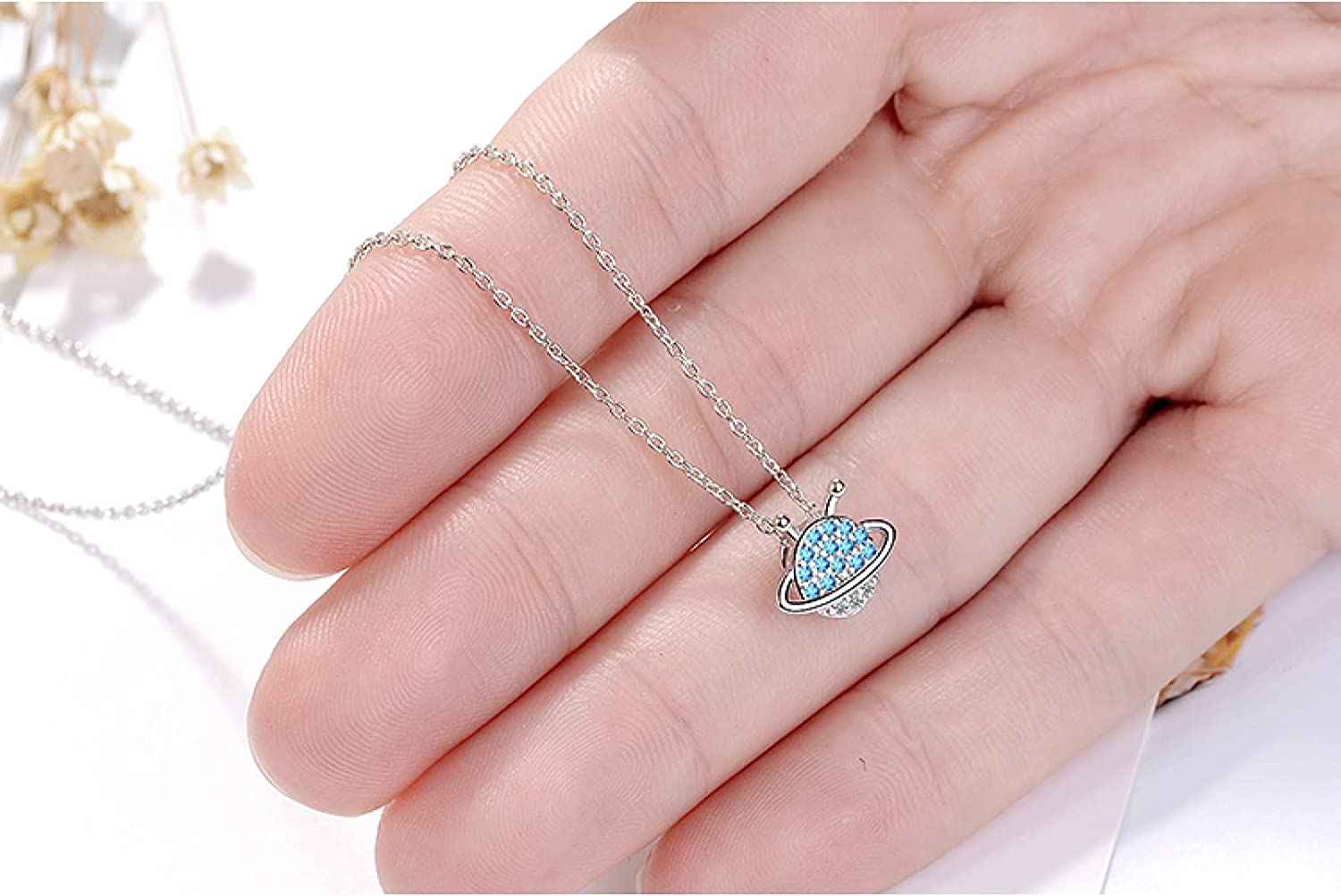 Necklace Pendant Color Simple Micro Zircon Blue Planet Necklace for Women Choker collares Christmas Mother's Day Valentine's Day Birthday Gift
