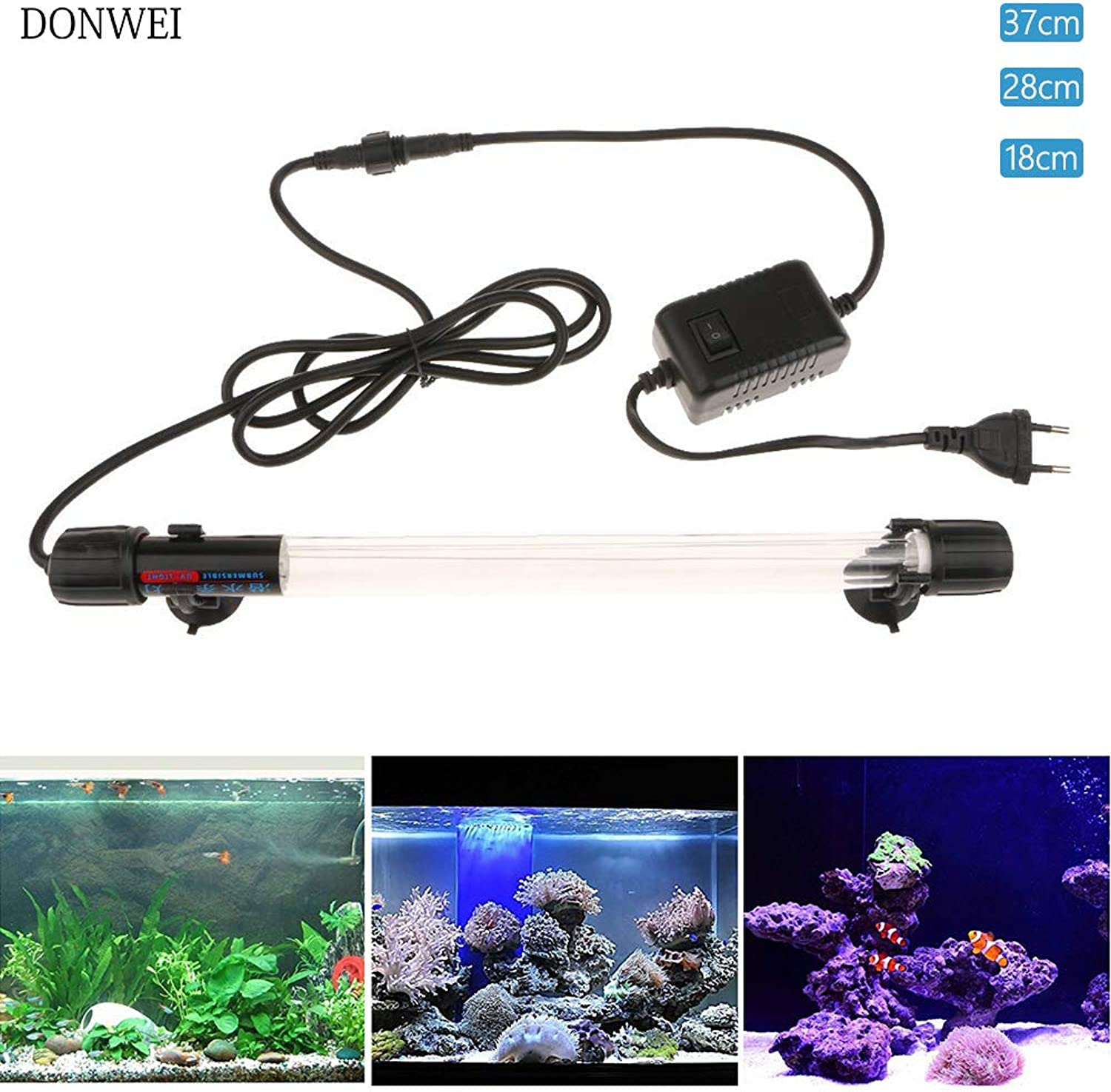 Led Lights Submersible Uv Light Sterilizer 6W 10W 15W Sterilizing Lamp for Aquarium Fish Tank Pond Water Disinfection Purify Killing Light - (Emitting color  190Mm 6W, Wattage  Us)