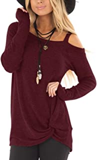 Women Cold Shoulder Long Sleeves Tops Crossed Front Loose Fashion Fit Tshirt