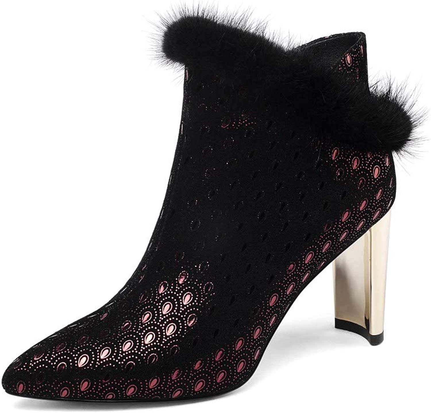 Nine Seven Women's Suede Leather Pointed Toe High Chunky Heel Side Zip Handmade Graceful Fur Trim Dress Ankle Boots