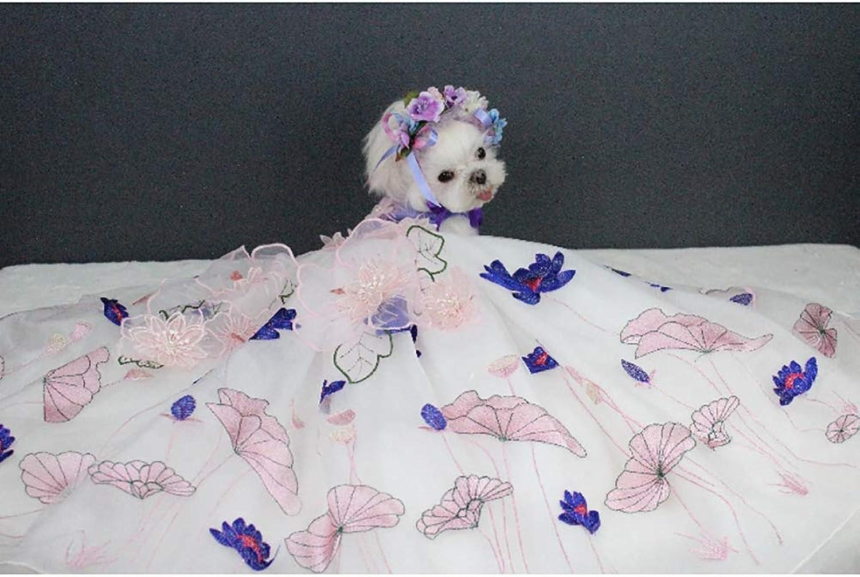 Pet Wedding Dress,Puppy Dog Princess Dresses ThreeDimensional Printing Decoration MultiLayer Skirt Suitable for Wedding Photo Festival Party,L
