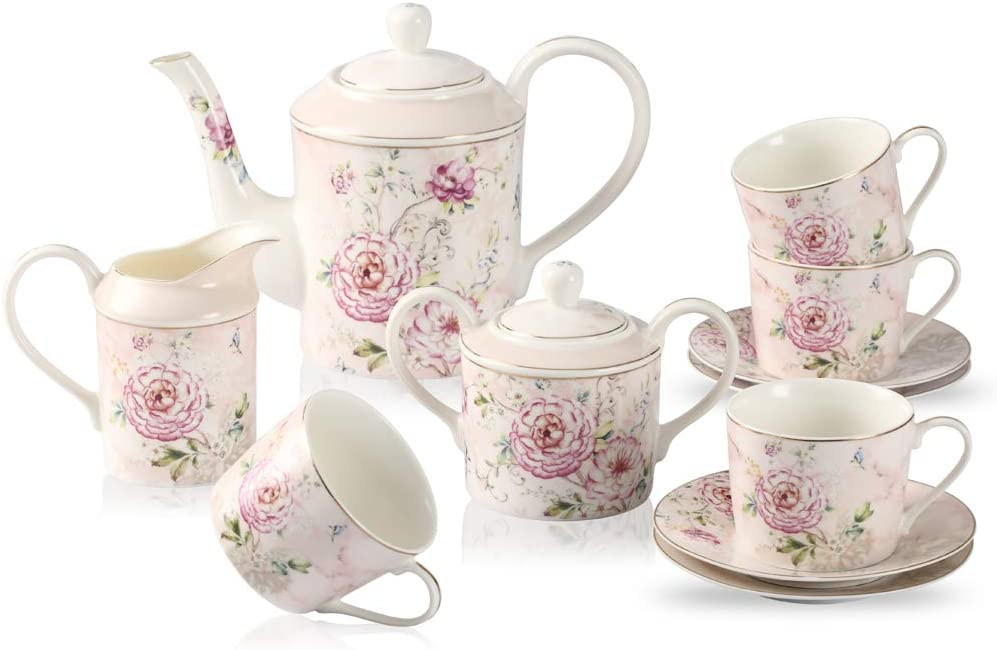 GuangYang 11 Pieces Porcelain Tea Teapot 5 ☆ very popular with Ceramic Cups Set Clearance SALE! Limited time!