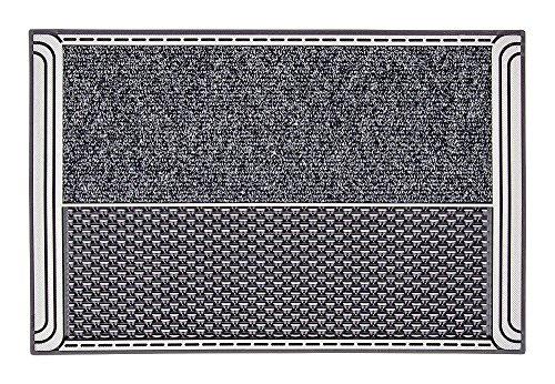 CarFashion Outdoor Fußmatte PUR|DualClean mit hochwirksamer Textileinlage und Scraper Disc-Noppen, TPE-VC 100% Nachhaltig, Anthrazit-Metallic, 59 x 39 cm