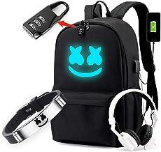 Cozyonme Smile Luminous Backpack with USB Charging Port Safety Lock & DJ Bracelet, Unisex Fashion Daypack Travel DJ Music ...