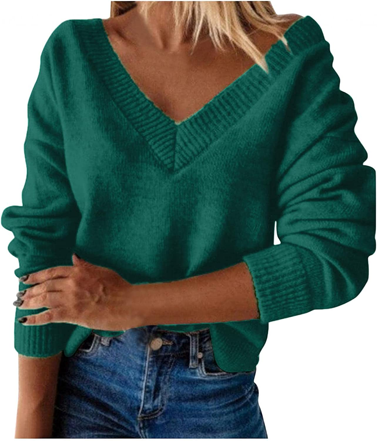 Hemlock Women V Neck Sweaters Solid Color Long Sleeve Knit Tops Fall Autumn Pullovers Sweater Outwear