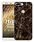 Sunrive Für Huawei Y7 2018 / Honor 7C Hülle Silikon, Transparent Handyhülle Schutzhülle Etui Case für Huawei Y7 2018 / Honor 7C(TPU Marmor Schwarzer)+Gratis Universal Eingabestift