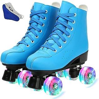 CYYZB Womens Roller Skates Boys Skates Four-Wheel Roller Skates PU Leather High-top Rollerskates for Childrens Kids Junior Boys Girls,Rose red,UK 2//EU 34