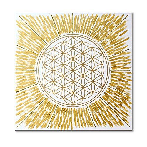 Wandbild Blume des Lebens in Gold 'Licht' - HANDGEMALT - Größe 50x50 cm - Lebensblume in GOLD mit Acrylfarbe gemalt - Leinwandbild auf viereckigen...