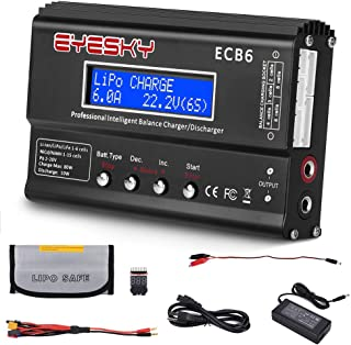 EYESKY LiPo Charger 1S-6S Digital Battery Balance Discharger 80W 6A for Li-ion Life NiCd NiMH LiHV PB Smart Battery … (qa)