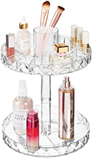 mDesign Spinning 2-Tier Lazy Susan Makeup Turntable Storage Center Tray - Rotating Organizer for Bathroom Vanity Counter Tops, Dressing Tables, Cosmetic Stations, Dressers - 10.25