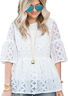 Women's White Lace Organza Dolly Shirt Blouse Top with Bell Sleeves